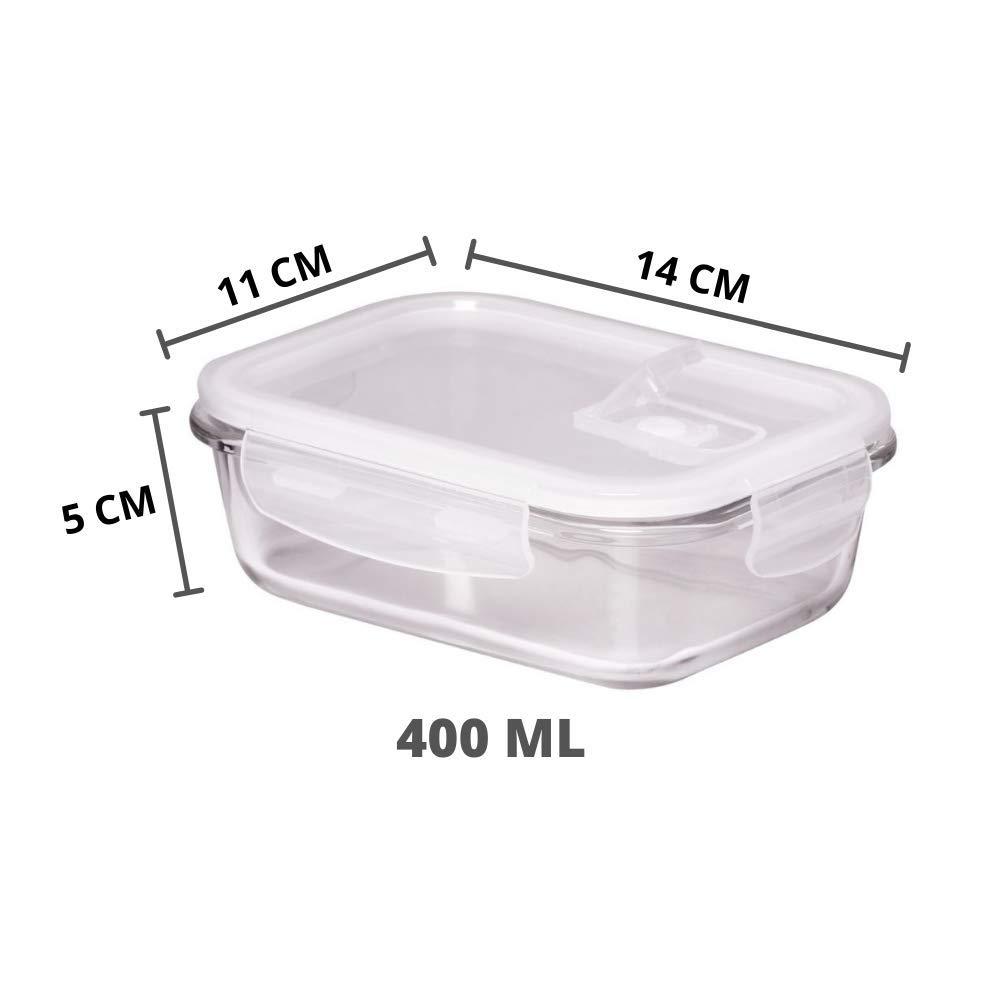 Borosilicate Glass Rectangular Food Storage Container -(140 ml, 400 ml , 620 ml, 1000 ml), Set of 4 Pcs