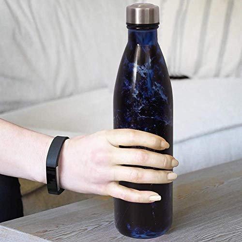 Glass Deep Sea Blue  Water Bottle with Steel Cap - 1 Pc