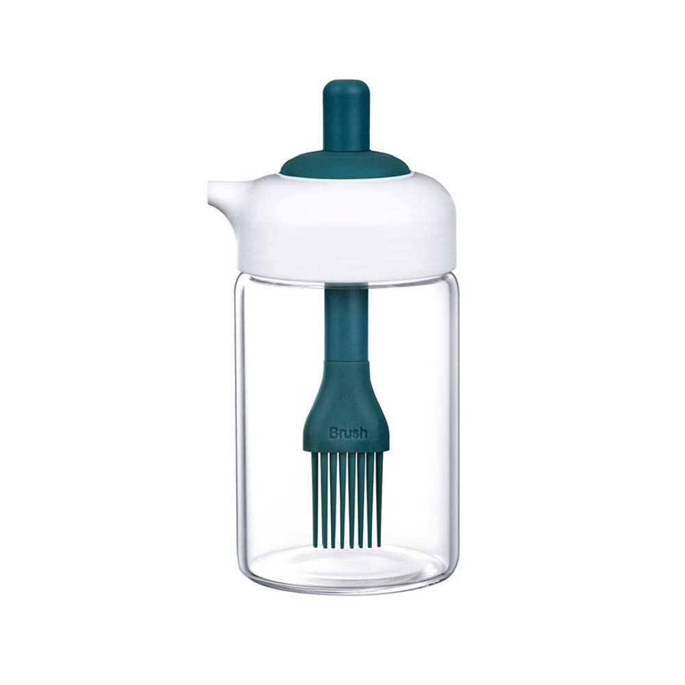 Borosilicate Glass 2-in-1 Brush & Oil Green Jar - 200 ML, Set of 1