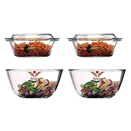 Borosilicate Glass Microwave Safe Mixing Bowl 1050 ML, Serving Casserole 700 ML Set of 4