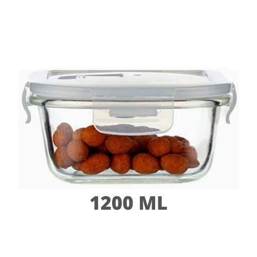 Borosilicate Glass Square Container with Air Vent Lid - 1200 ML