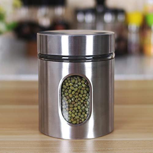 Glass Steel Window Jars for Kitchen Storage, 300 ML - Set of 3