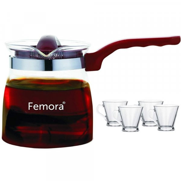 Borosilicate Glass Microwave Safe Flame Proof Tea Pot with 4  Cup