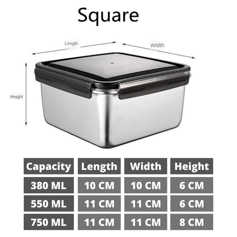 Steel Square Container- 380 ML