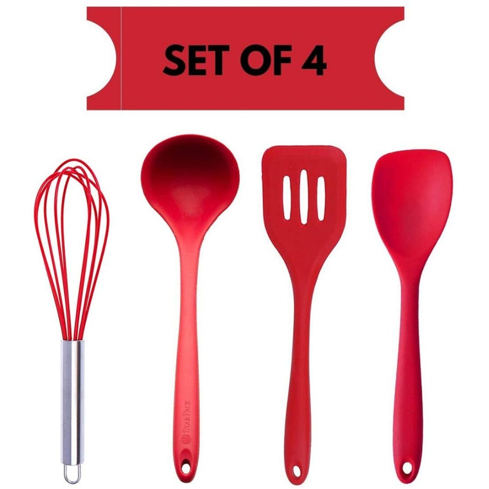 Silicone Premium Egg Whisk, Laddle, Slotted Turner, Spoon with Grip Handle, Set of 4