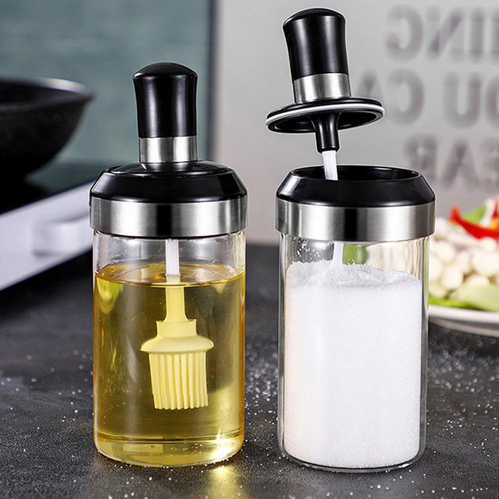 Borosilicate Glass Jar with Brush - 250ml, Set of 4