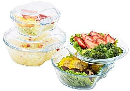 Borosilicate Glass Microwave Safe Casserole - 500ML 1000ML, 1500ML, Set of 3