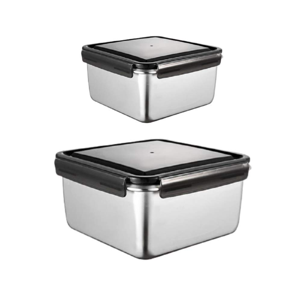 High Steel Square Container Airtight Leakproof Storage Container/Lunch Box - 380 ML_750 ML, Set of 2