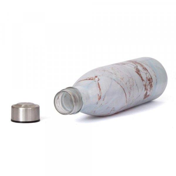 Glass Glacier White Water Bottle with Steel Cap - 1L