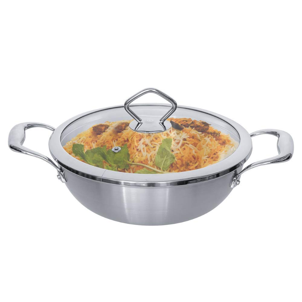 Tri-ply Deep Frying Kadhai Pan 22x7.5cm with Glass Lid - Healthy Cooking (Zero Non-Stick Coating)