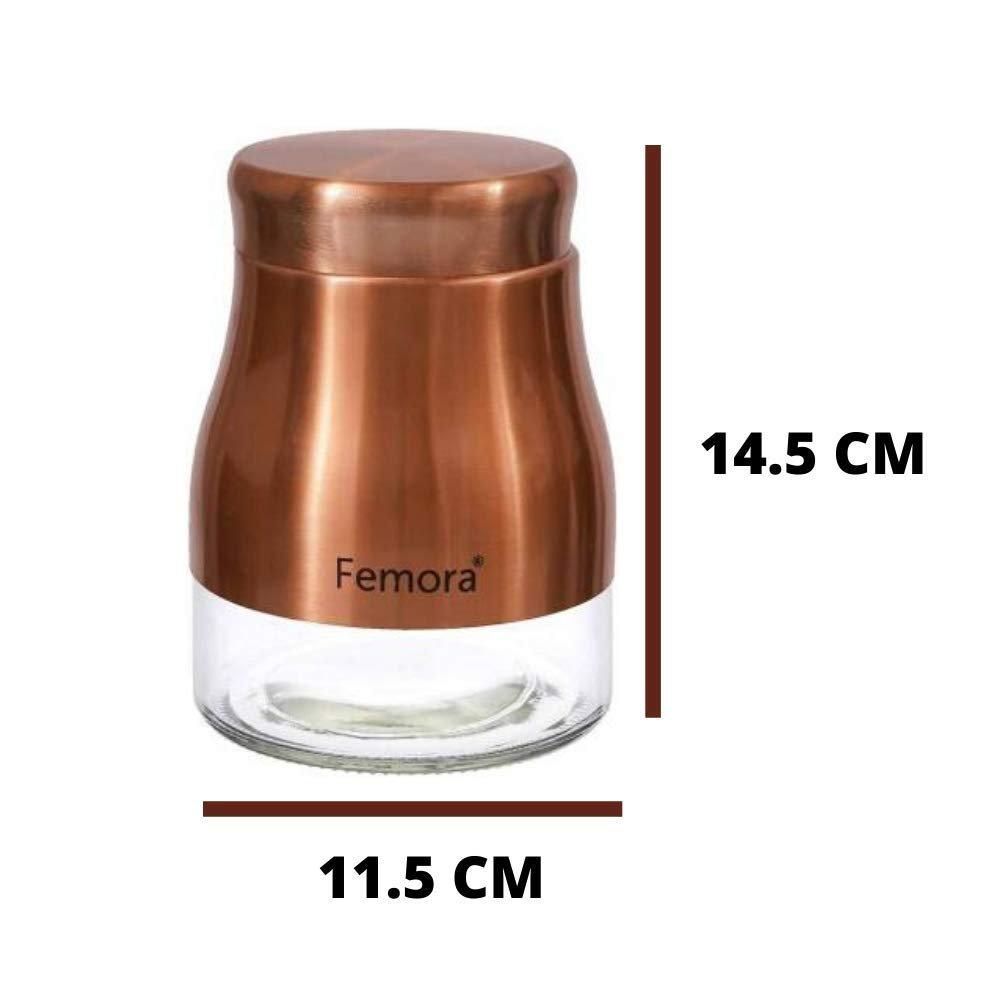Clear Glass Gold Metallic Steel Jars - 900ML, 1300ML, Set of 2