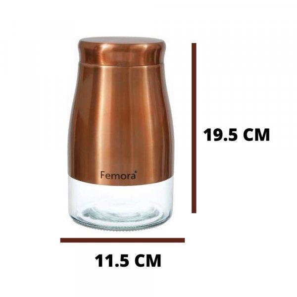 Clear Glass Gold Metallic Steel Jars - 1300ML, Set of 2