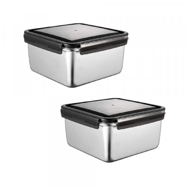 High Steel Square Container Airtight Leakproof Storage Container/Lunch Box - 750 ml/gm - Set of 2