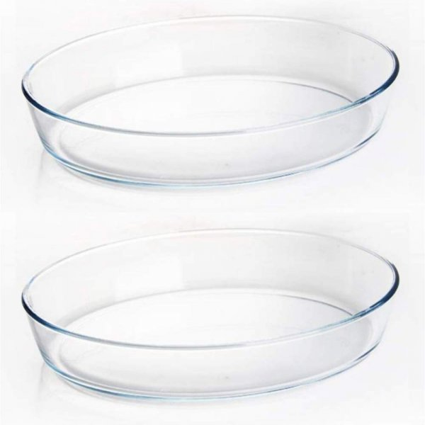 Borosilicate Glass Oval Baking Dish Microwave Safe - 1600 ML, Set of 2