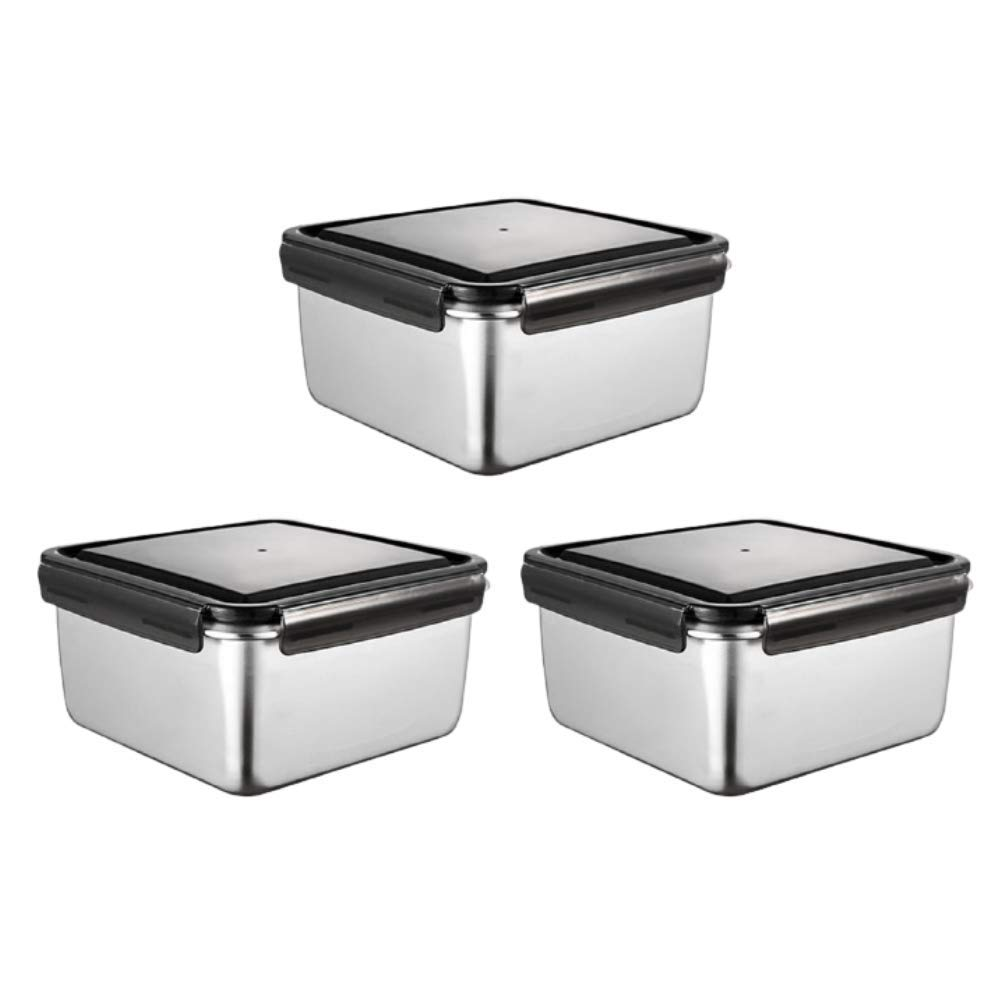 High Steel Square Container Airtight Leakproof Storage Container/Lunch Box - 380 ml/gm - Set of 3