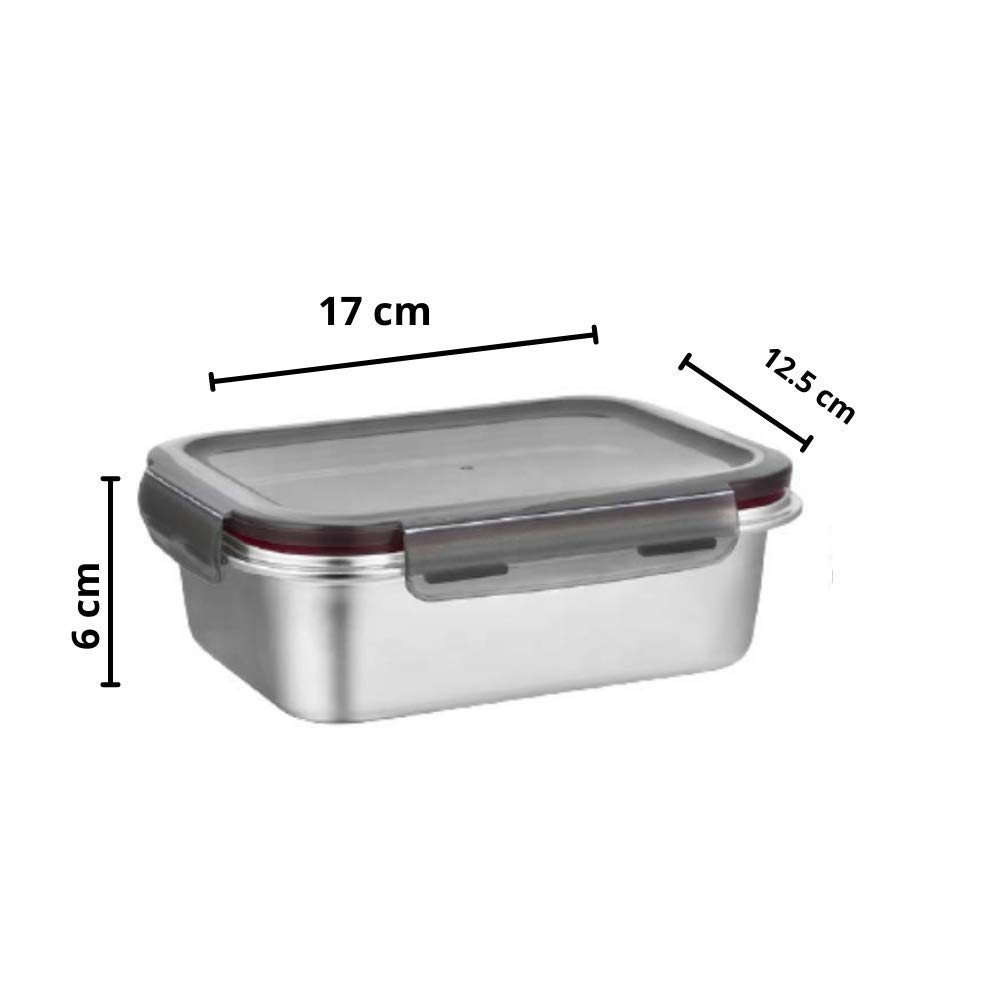 Steel Rectangle and Square  Storage Container Lunch Box with Grey  Bag - Set of 3