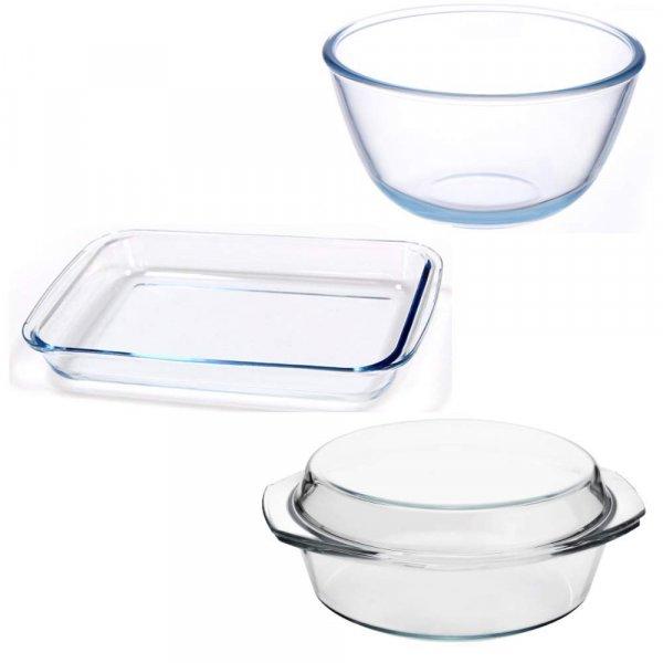 Borosilicate Glass Mixing Bowl - Rectangular Dish and Casserole, (Bowl-1050ML, Dish-1000ML, Casserole-700ML)- Set of 3