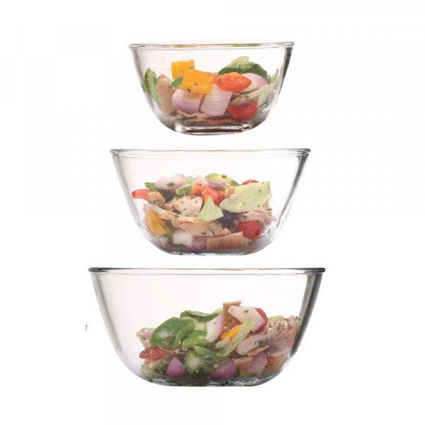 Borosilicate Glass Round Mixing Bowl 400ml,1050ml,1650ml, Set of 3