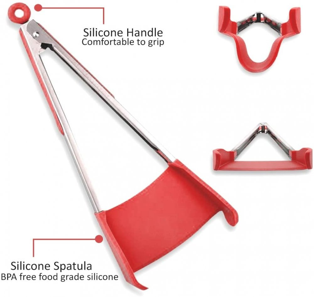 """Silicone Food Tong with Holder 12"""" Inch for Kitchen"""