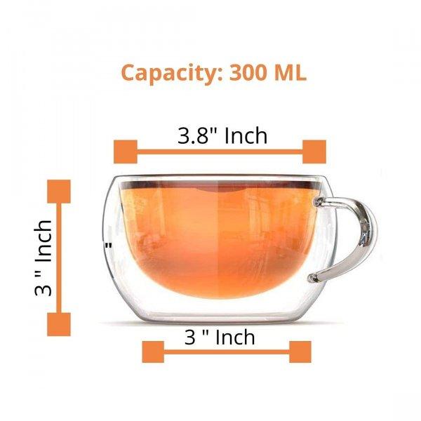 Borosilicate Glass Double Wall Wide Tea Cup-300 ML , Set of 4 pcs