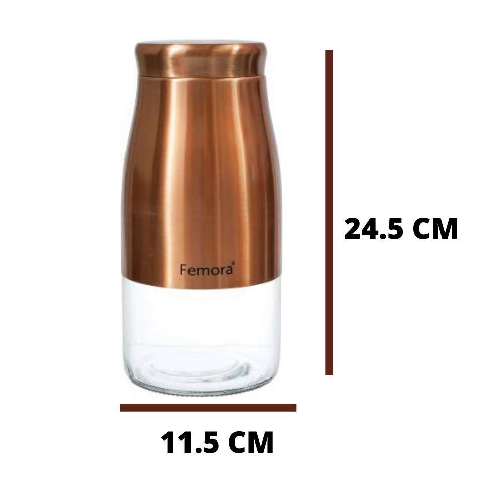 Clear Glass Gold Metallic Steel Jars - 1750ML, Set of 2