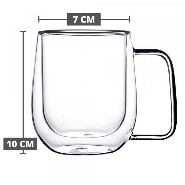 Double Wall Crystal Glass Tea Cup Coffee Mug - 270 ML, Set of 6