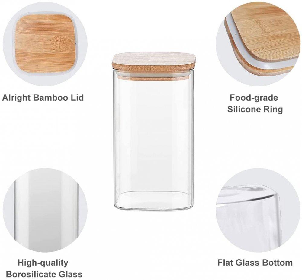 Borosilicate Glass Bamboo Lid Air Tight Jar - 700 ML, Set of 4