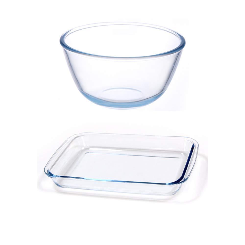 Borosilicate Glass Mixing Bowl and Rectangular Dish, (Bowl-1050ML, Dish-1000ML)- Set of 2