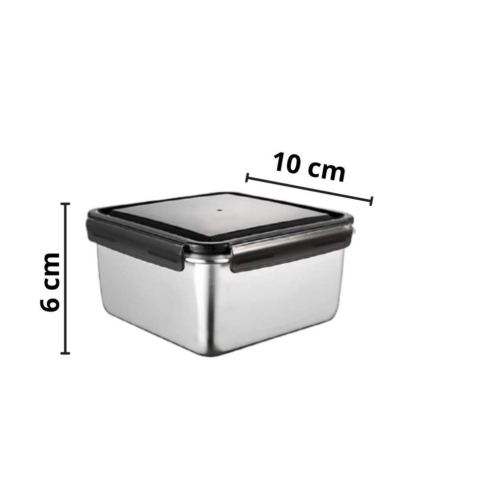 Steel  Rectangle and Square Storage Container Lunch Box with Camel Bag - Set of 3