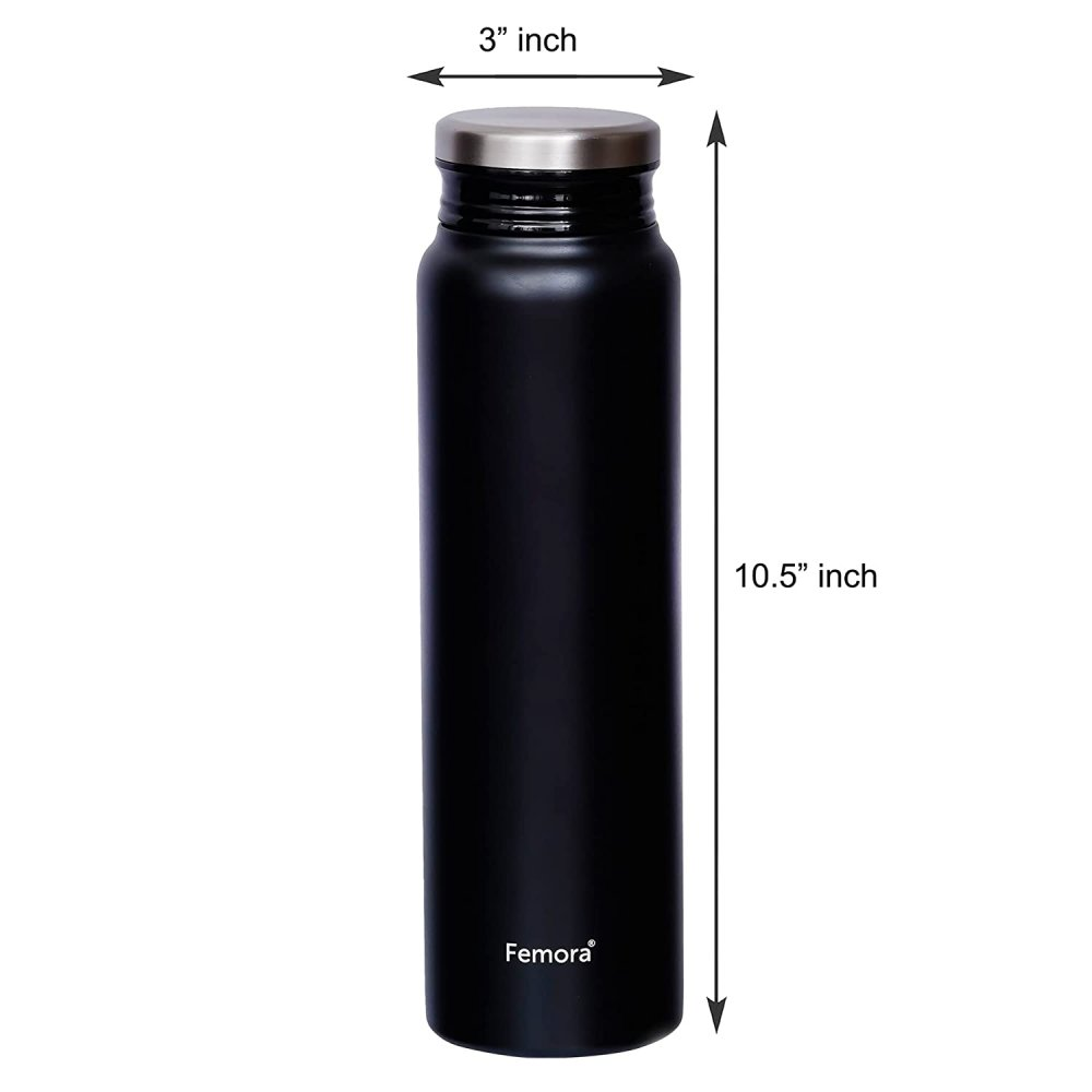 ThermoSteel Vacuum Stainless Steel Bottle - 750 ML, Black, HOT and Cold