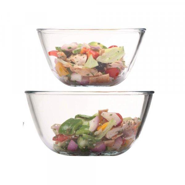 Borosilicate Glass Round Salad Serve Mixing Bowl 2100 ML_1050 ML, Set of 2