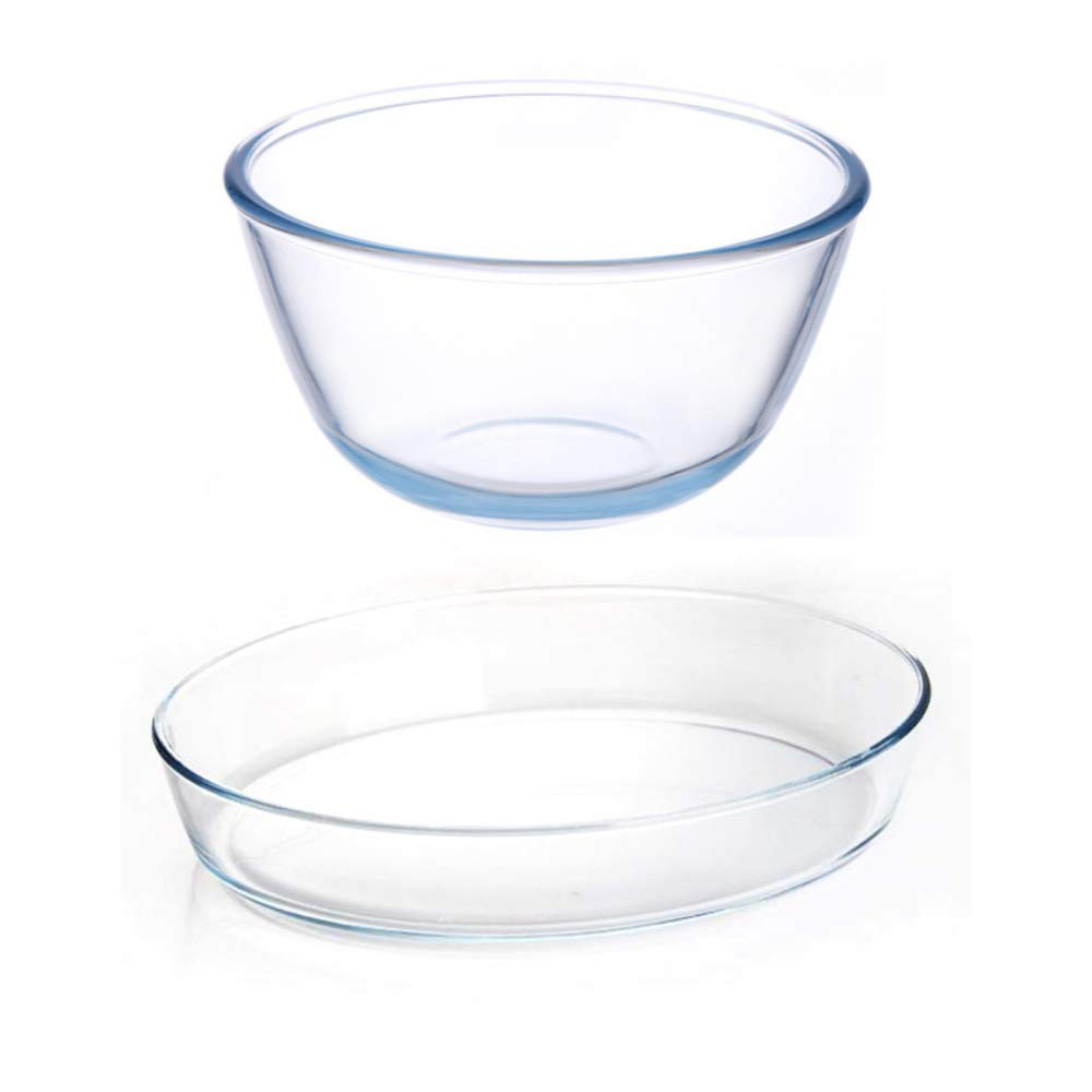 Borosilicate Glass Mixing Bowl and Oval Dish, (Bowl-1650ML, Dish-1600ML)- Set of 2