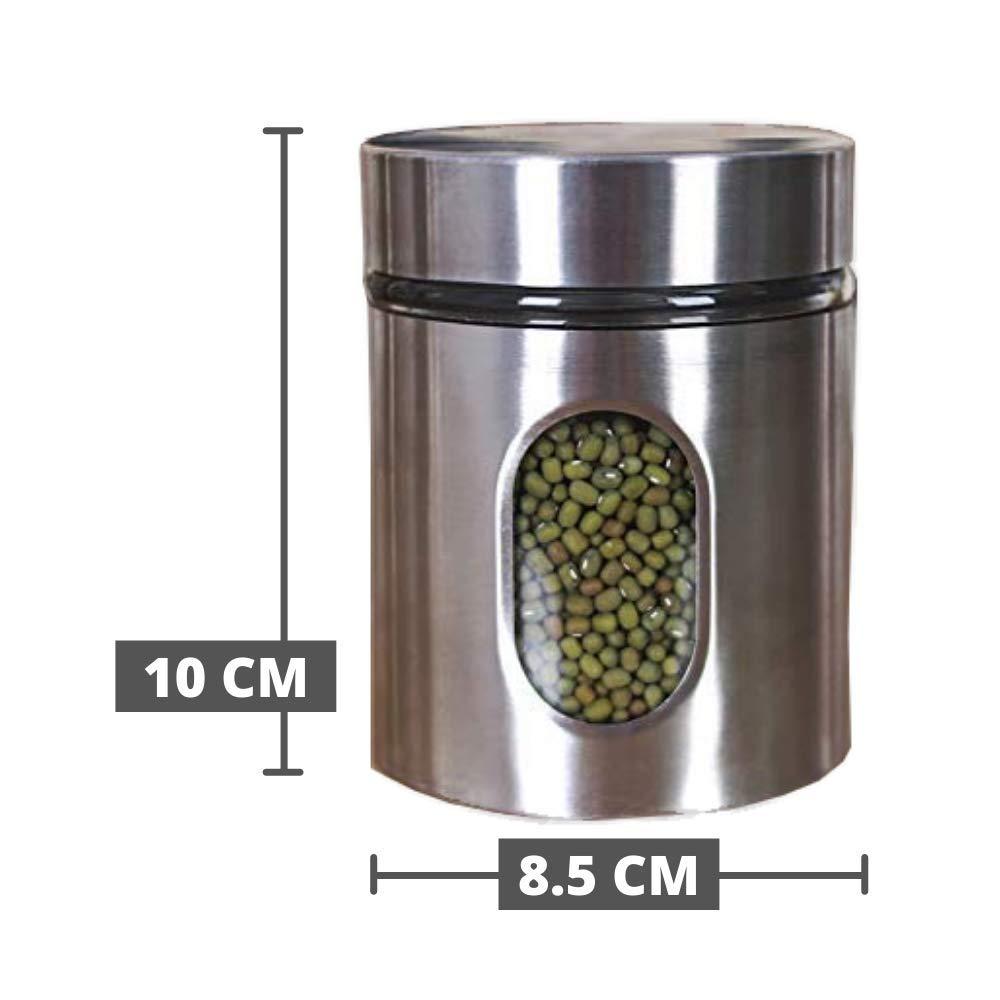 Glass Steel Window Jars for Kitchen Storage, 300 ML - Set of 6