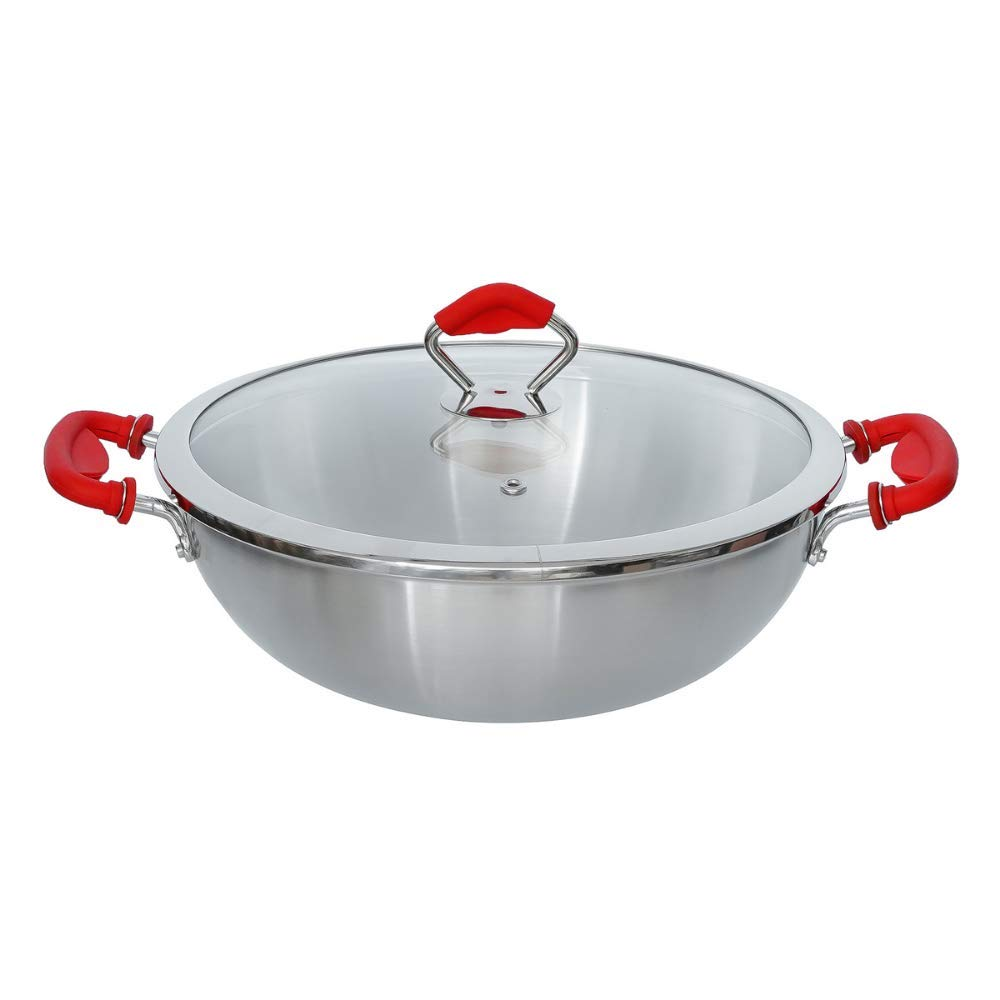 Tri-ply Deep Frying Kadhai Pan 26x8.5cm with Glass Lid & Silicone - Health Cooking (Zero Non-Stick Coating