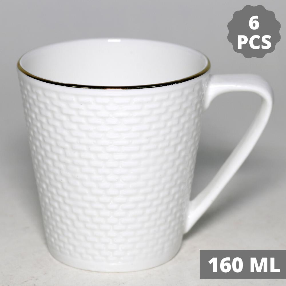 Indian Ceramic  Golden Line  Tea Cup - 160 ML, 6 Pcs