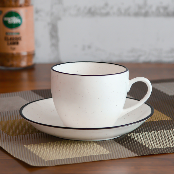 Indian Ceramic Fine Bone China Black Dots White Tea Cups & Saucer - 180 ML