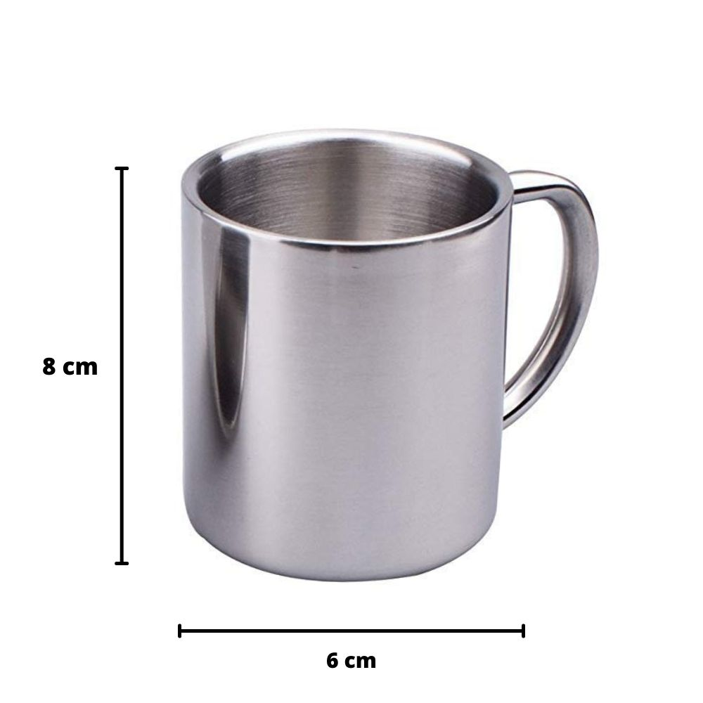 Femora Carbonate Thermo Steel Double Wall Steel Tea Cup Coffee Mug with Steel Handle - 190 ML- Set of 4pcs