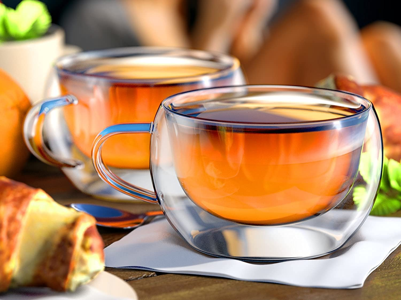 Borosilicate Glass Double Wall Wide Tea Cup-300 ML, Set of 2 pcs