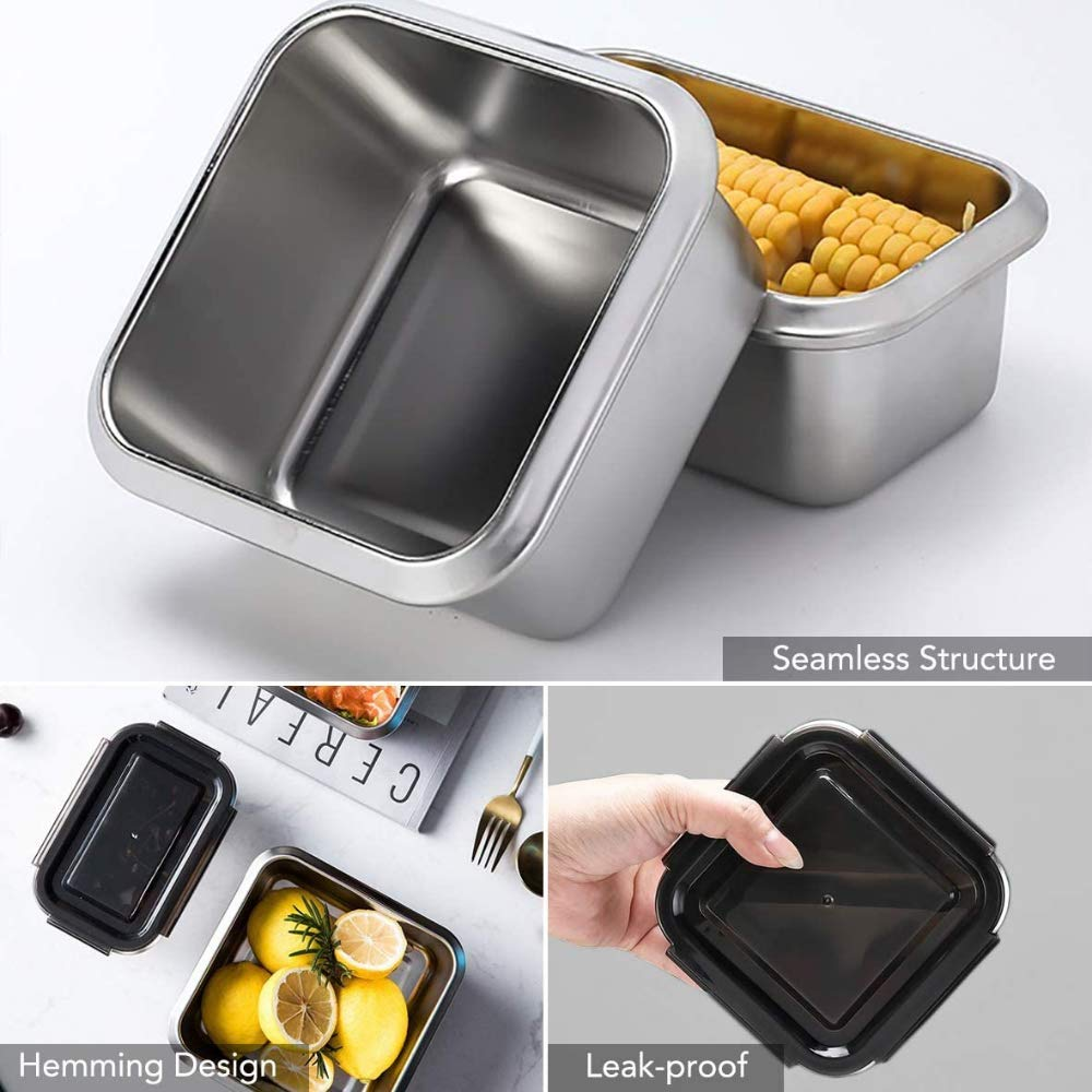 High Steel Square Container Airtight Leakproof Storage Container/Lunch Box - 550 ML_750 ML, Set of 2