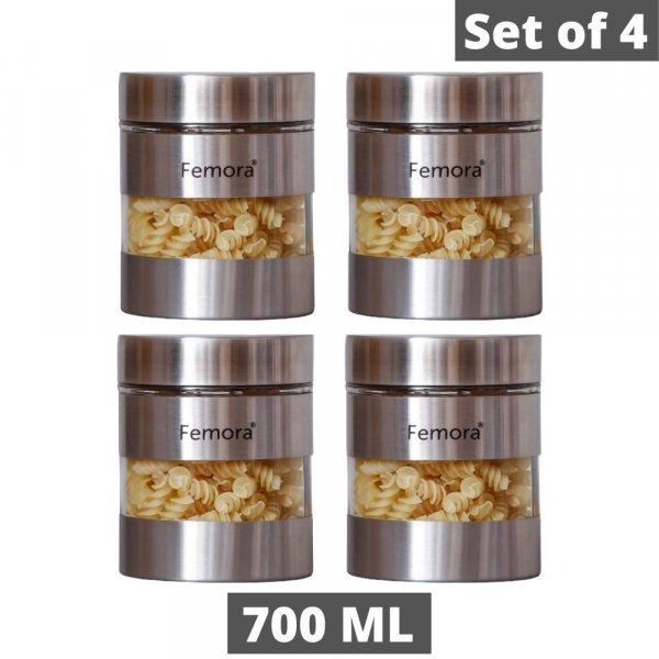 Glass Steel Metallic Jars for Kitchen Storage, 700 ML - Set of 4