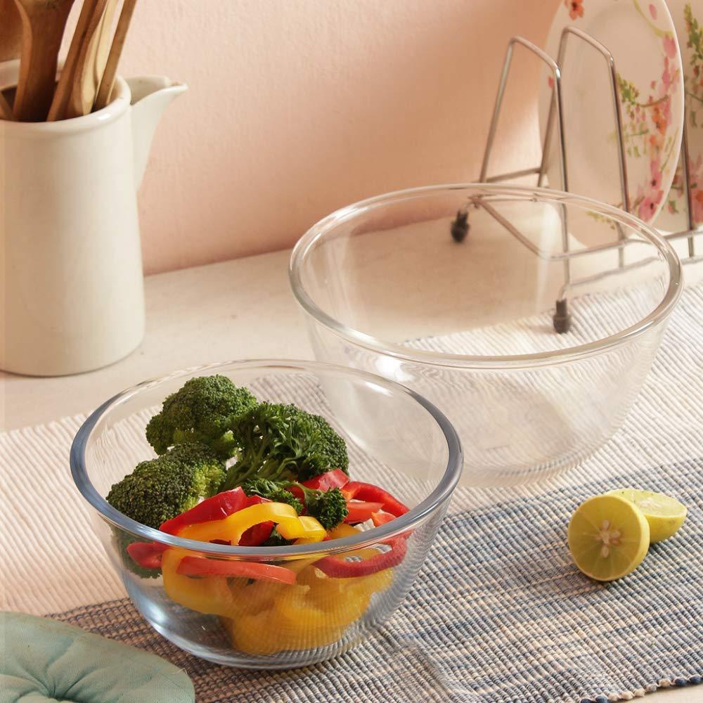 Borosilicate Glass Round Mixing Bowl 1050ml,1650ml, Set of 2