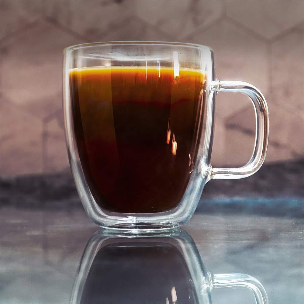 Double Wall Crystal Glass Tea Cup Mug- 170 ML, Set of 6