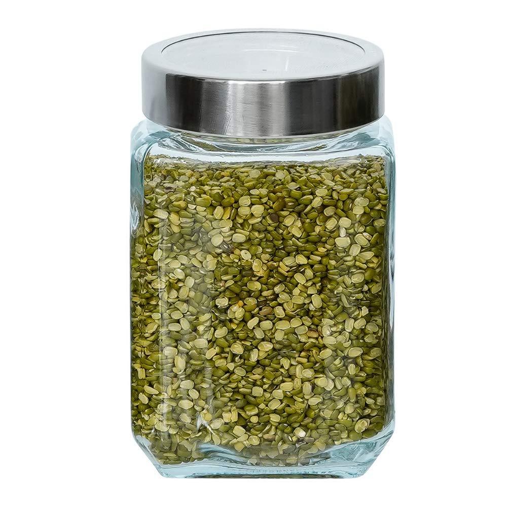 Glass Cuboid Kitchen Storage Jar-750ML, Set of 4
