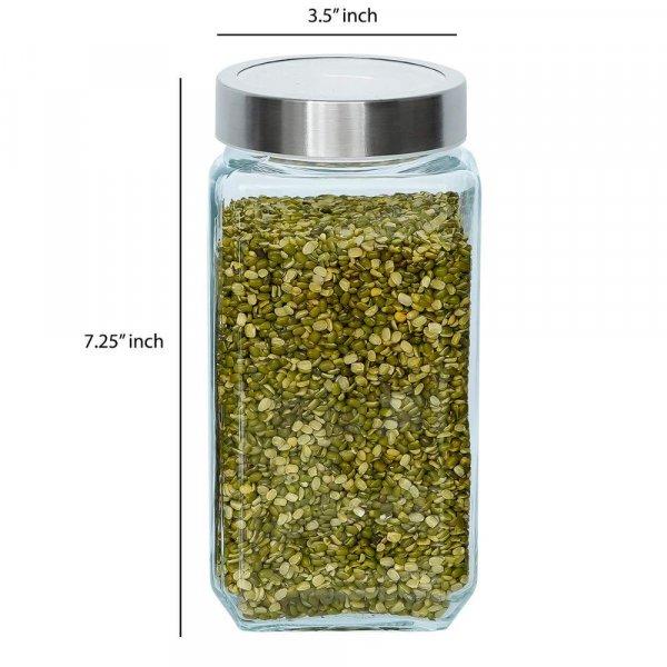 Glass Cuboid Kitchen Storage Jar-1000ML, Set of 6