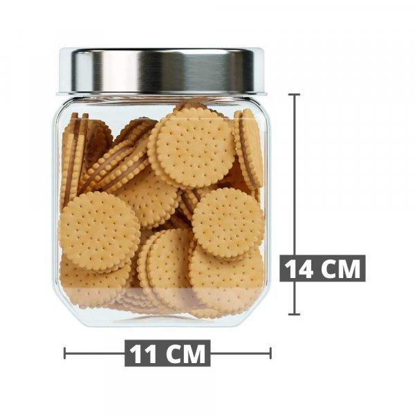 Octo Storage Glass Jar - 850 ML_1150 ML_1550 ML - Set of 3