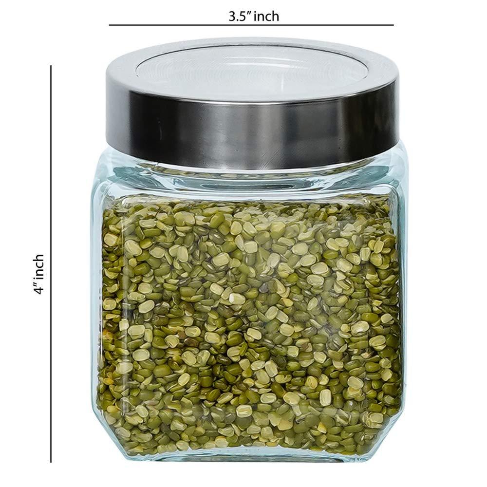 Glass Cuboid Kitchen Storage Jar-500ML, Set of 4