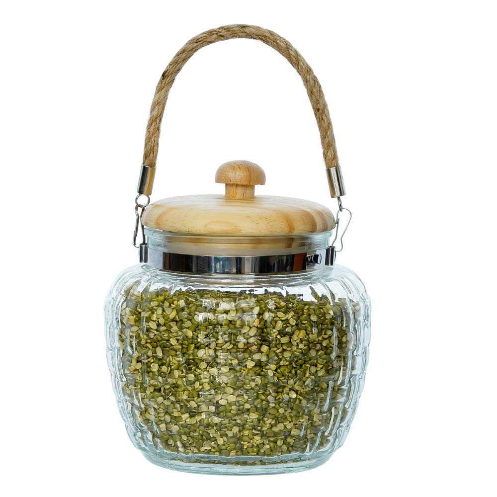 High Line Glass with Bamboo Lid Jar-1500ML, Set of 2