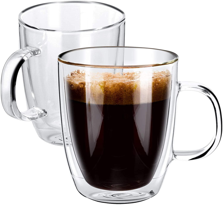 Borosilicate Glass Double Wall Tea Cup- 360 ML, Set of 6 pcs