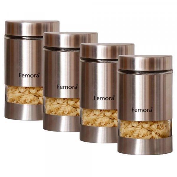 Glass Steel Metallic Jars for Kitchen Storage, 1000 ML - Set of 4