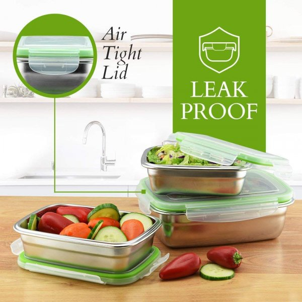 High Steel Rectangle Container with Lock Lid for Kitchen, Storage, Lunch Box - 850ML, 1800ML Set of 2